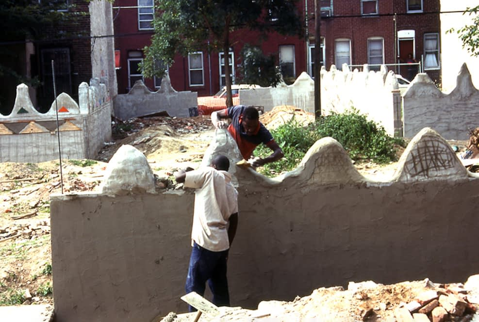 Community members work on Meditation Park. Lily Yeh used workforce development money to fund the building of the parks.
