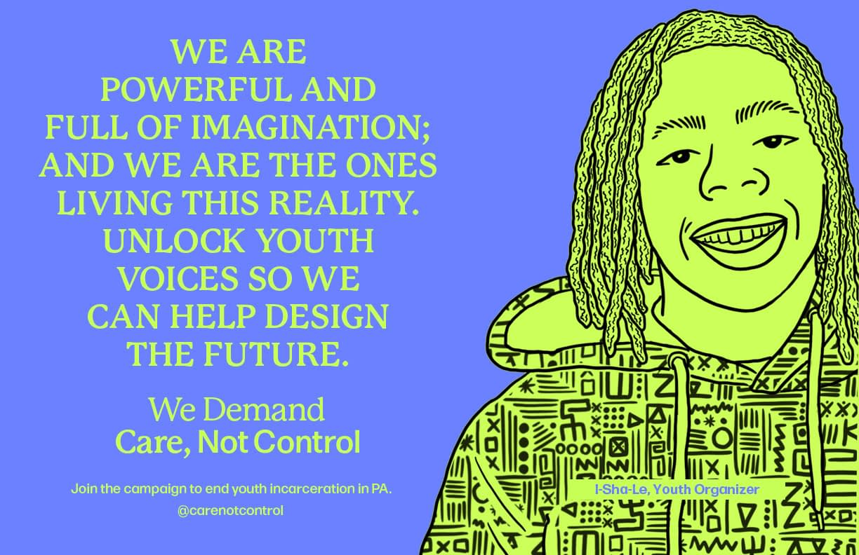 """Line drawing of young Black man with dreads in green on purple background. """"We are powerful and full of imagination, and we are the ones living from reality. Unlock youth voices so we can help design the future."""" - I-Sha-Le, youth organizer"""
